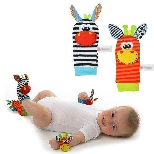 Super Value Lamaze Style - donkey Zebra Wrist Rattle, Socks Toys - Foot Finder Set - 4 in 1 Baby Infant Soft Animal Toys - Developmental Soft Toys