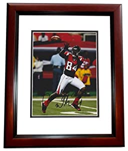 Roddy White Autographed Hand Signed Atlanta Falcons 8x10 Photo MAHOGANY CUSTOM FRAME by Real Deal Memorabilia