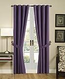 Grommet Top Solid Purple Micro Suede Window Curtain / Drape Set