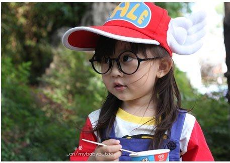 コスプレ小物  アラレちゃん風 帽子+眼鏡 キャップ  1号色 ハット  ハロウィン  日除け帽子 成人版 コスプレ道具