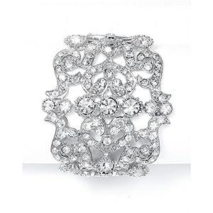 Silver-Tone Bold Crystal Cuff Wedding Bracelet