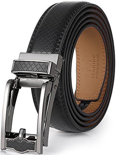 Marino Men's Genuine Leather Ratchet Dress Belt with Open Linxx Buckle, Enclosed in an Elegant Gift Box - Black 140 - Custom: Up to 44