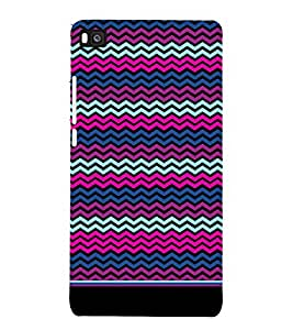 PrintVisa Cute Chevron Pattern 3D Hard Polycarbonate Designer Back Case Cover for Huawei P8