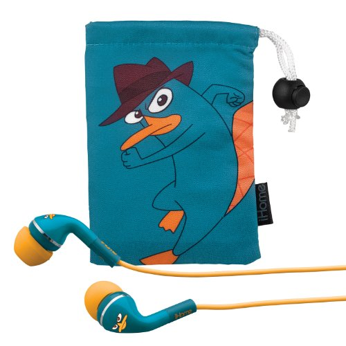 "Ekids Phineas And Ferb ""Agent P"" Noise Isolating Earphones With Pouch, By Ihome - Df-M153"
