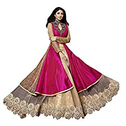 Skyward Women's Pink & Golden Colour Lehenga Gown Style Dress Material / Wedding Wear Dress Material / Engagement Wear Dress Material / Dress Material For Special Occasion (Latest Bollywood Fashion)