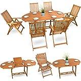 7-tlg-Holzmbel-Essgarnitur-Sitzgruppe-Gartenmbel-Set-Holz-Sitzgarnitur-Akazie-gelt-6x-verstellbarer-Klappstuhl-1x-ausziehbarer-Klapptisch