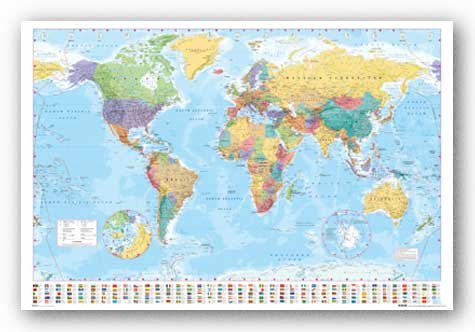 World Map (Flags at Bottom) Art Poster Print - 24x36