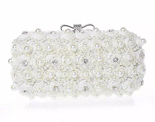 Szstudio Fashion Romantic Flowers Handmade White Pearl Bead Rhinestone Clasp Mini Clutch Evening Bag