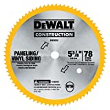 DEWALT DW9053 5-3/8-Inch 80 Tooth Paneling and Vinyl Cutting Steel Saw Blade with 10 mm Arbor