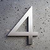 Modern House Number Aluminum Modern Font Number Four