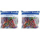 BAZIC Assorted Dimensions 227g/0.5 lbs. Rubber Bands, Multi Color (465-48P) 2-Pack