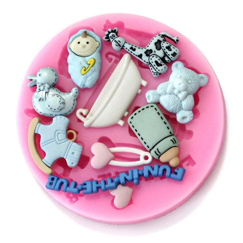 Longzang F0488 Baby Shower Fondant Silicone Sugar Craft Mold, Mini, Pink