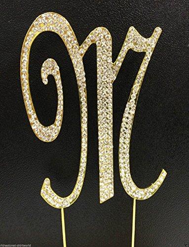 Crystal Rhinestone Covered Gold Monogram Wedding Cake Topper Letter M front-1056173