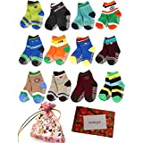 BS® 6 Pairs 1-3 Years Baby Boy's Toddler Anti Skid Slip Slipper Stretch Knit Socks + Gift Bag + Gift Card, Footsocks Sneakers Socks, Sole Length 12cm/4.72inch