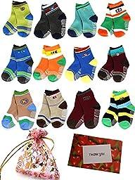 BS® 6 Pairs 1-3 Years Baby Boy\'s Toddler Anti Skid Slip Slipper Stretch Knit Socks + Gift bag + Gift Card, Footsocks sneakers Socks, Sole Length 12cm/4.72inch