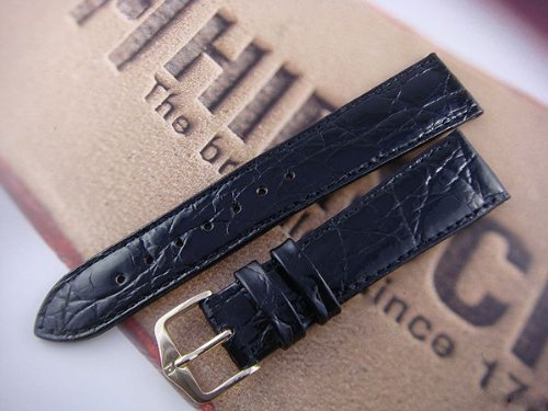 HIRSCH Genuine Croco M Watch Strap in Black, 17 mm, Gold Buckle