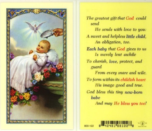 Baby's Baptismal Holy Card (800-122) - 10 pack (E24-397) - 1