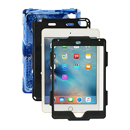 iPad Mini 4 Case, for Kids Aceguarder [Shockproof]Military GradeHeavy Duty Rainproof Silicone Cover with Kickstand & Screen Protector for Apple iPad Mini 4 2015 (4th Generation)-Navy/Black (Ad Mini Case compare prices)