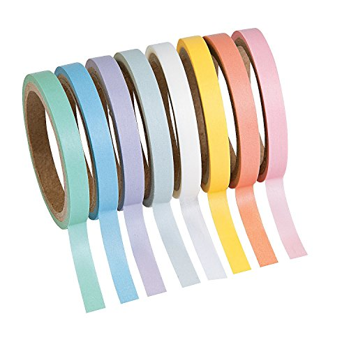Pastel Solid Colors Washi Tape Set - 16 Ft. Of Tape Each Roll (8 Rolls Per Unit) - 1