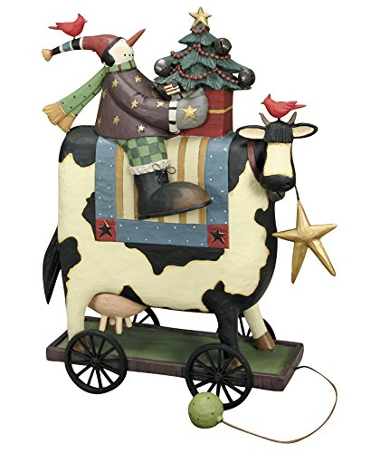 Williraye Studio Moo-ry Christmas Snowman Riding Cow Figurine