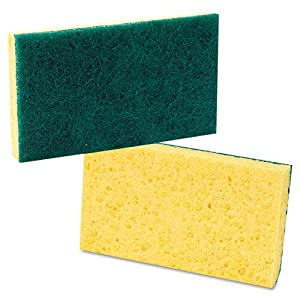 Premiere Pads Medium Duty Scrubbing Sponge, 3 5/8 x 6 1/4, Yellow/Green