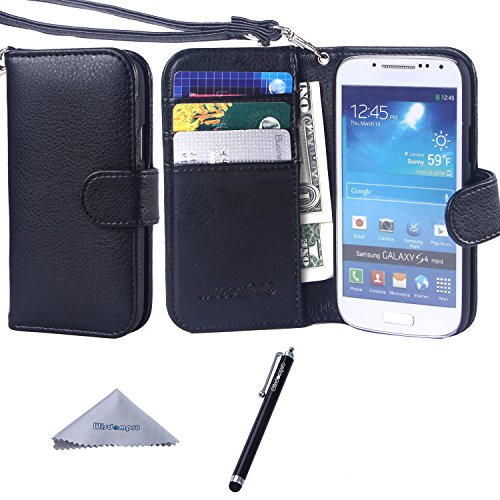 S4 Mini Case, Wisdompro Premium PU Leather 2-in-1 Protective [Folio Flip Wallet] Case with Credit Card Holder/Slots and Wrist Lanyard for Samsung Galaxy S4 Mini (NOT S4 FIT) -Black with lanyard (Samsung Galaxy S4 Mini Folio Case compare prices)
