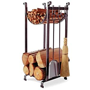 Enclume Sling Log Rack with Fireplace Tools,