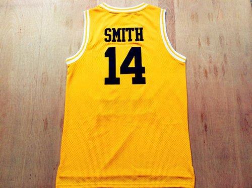 Fresh Prince Jersey 14 Will Smith Jersey Yellow Bel-Air Academy Basketball Jerseys Stitched (Golden, Medium)