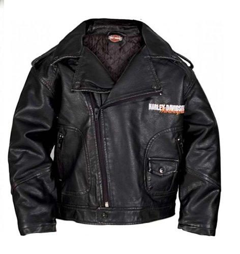 Harley-Davidson Big Boys' Upwing Eagle Biker Pleather Jacket Blk 0396074 (8/10) (Harley Davidson Kids Clothing compare prices)
