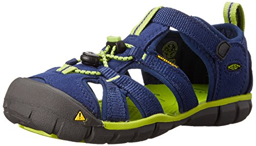 Keen Seacamp II CNX Sandali da Trekking, Unisex - Bambini, Colore Blu (Blue Depths/Lime Green), Taglia 31 EU (12 UK)