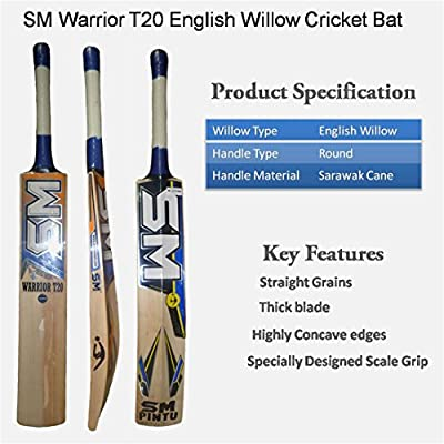 SM Warrior T-20 English Willow Cricket Bat Size 6