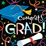 Amscan Super Value Pack Luncheon Napkins, 6.5-Inch by 6.5-Inch, Graduation, 100 Per Package