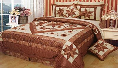 DaDa Bedding BM915L Diamond of Night Polyester Patchwork 5-Piece Comforter Set