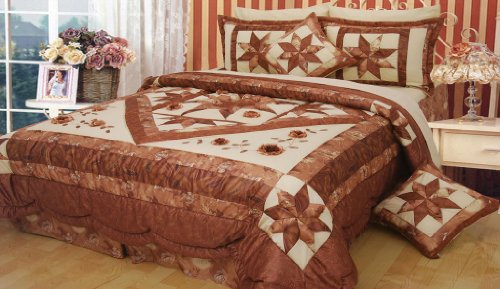 Dada Bedding Bm915L Diamond Of Night Polyester Patchwork 3-Piece Comforter Set, Twin, Dark Brown front-875671
