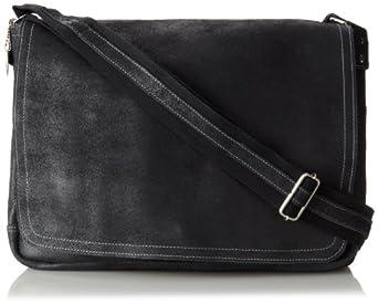 David King & Co. Leather Full Flap Laptop Messenger L Distressed, Black, One Size