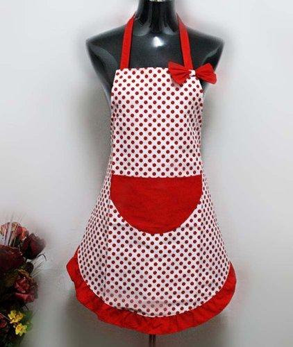 Hyzrz Hot Lovely Lady Cheap Red Dot Kitchen Flirty Canvas Restaurant Cake Apron for Women Chef Bib Funny