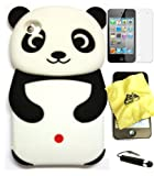 Bundle - 4 items: Bukit Cell 3D Panda Soft Silicone Case for IPod Touch 4/4G 4th Gen, Black, Bukit Cell Cleaning Cloth, Bukit Cell Screen Protector and Bukit Cell Metallic Stylus Touch Pen with Anti Dust Plug
