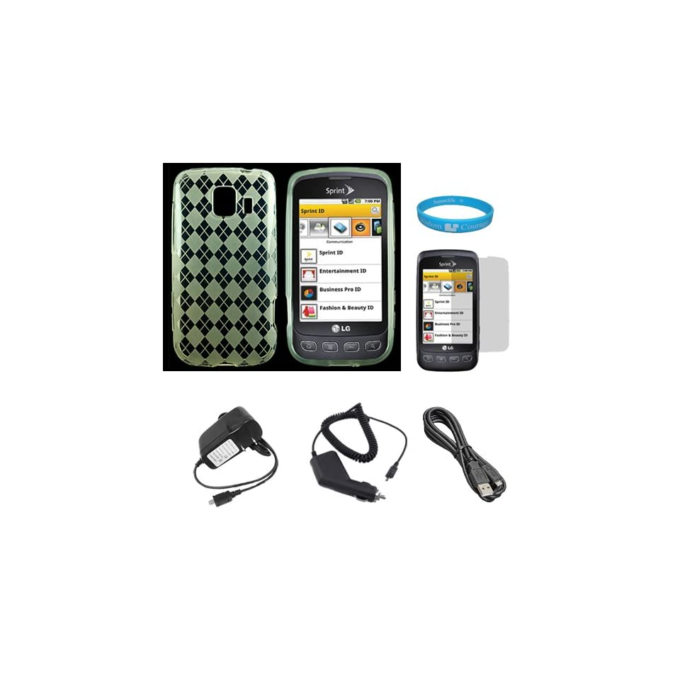 Clear Argyle Rubberzied TPU Silicone Skin Cover Case for Sprint LG Optimus S (Model LG670KIT) + Clear Screen Protector + Black Rapid Travel Wall Charger with IC Chip + Black Rapid Car Charger with IC Chip + Micro USB Data Cable Cord Electronics