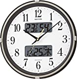 RHYTHM(リズム時計) 温度湿度・カレンダー表示付電波時計 フィットウェーブリブ 茶メタリック色 4FYA07SR06