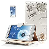 Boriyuan Bling White Pearls Golden Silvery Flower Imperial Crown Love Daisy Blossom Rhinestones 3D Handmade Luxury Shining Crystal Diamond Wallet Design Magnetic Closure Protective Flip Folio PU Leather Case Carrying Cover with Credit ID Card Holder Slots and Viewing Stand Function for Samsung Galaxy S3 III I9300 Smartphone - White