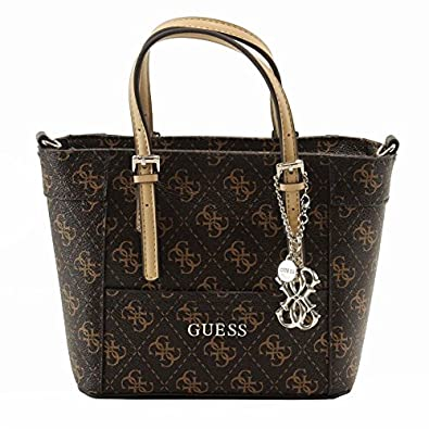 GUESS Women's Delaney Logo Mini Tote, BROWN