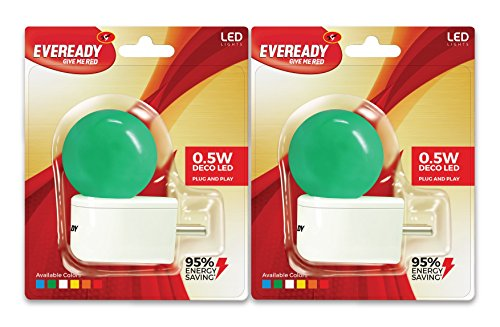 Eveready-0.5W-Deco-Plug-and-Play-L-type-LED-Bulb-(Green,-Pack-of-2)
