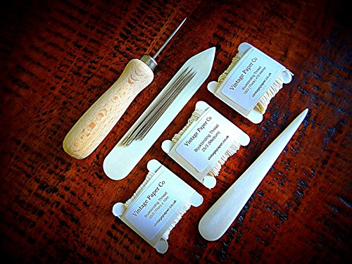 Bookbinding Supplies Bookbinders Kit - Bone Folders, Awl, Needles And 3 Threads