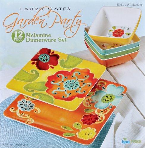 Laurie Gates 12 Piece Garden Party Bpa Free Melamine