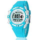 Happy Cherry Outdoor Boys Girls Students Cool Digital Sport LED Quartz Alarm Stopwatch Chronograph Wrist Watch Gift Display - Blue