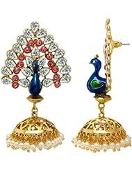 Mahi Gold Plated Blue And Pink Peacock Reverie Earrings For Women ER1109406G