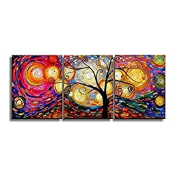 iPainting--Hand Painted Decorative Abstract Framed Oil Painting Modern Art Tree on Canvas for Home Wall Decoration. High Quality Artwork Ready to hang.