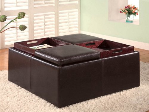Buy Low Price Black Vinyl Storage Ottoman With Coffee Table And Rich Cherry Wood Base