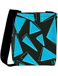 Snoogg Blue Pieces Of Triangle Designer Womens Carry Around Cross Body Tote Handbag Sling Bags