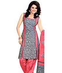 Khazanakart New Attractive Grey Colour Cotton Top,Bottom and Dupatta Fabric Bollywood Style Designer Salwar Suit Dress Material For Wome.